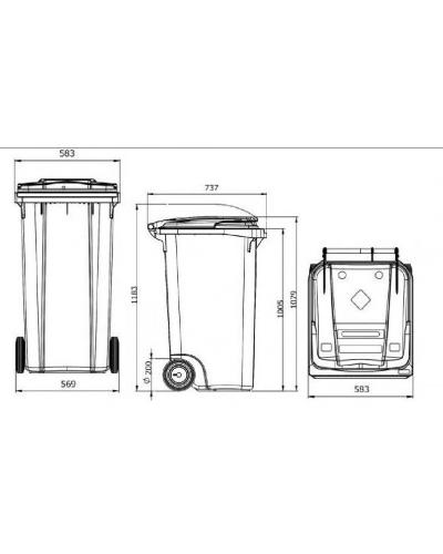 Мусорный контейнер для ТБО на 240 литров